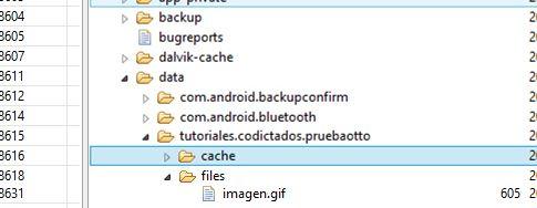 Estructura de archivos en el Andrid Device Monitor en la que se ve el archivo 'imagen.gif' dentro de la carpeta files del directorio de la aplicación
