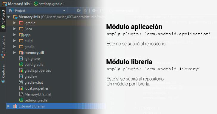 Vistazo de el panel de archivos del proyecto de Android Studio. Se diferencia entre el módulo app (que no se subirá) y el módulo memoryutils (que sí se subirá).
