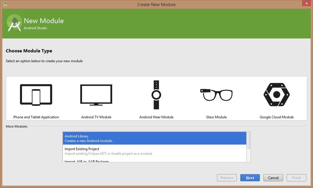 Asistente de Android Studio para crear un nuevo módulo de tipo lirbería. Está marcada la opción Android Library.